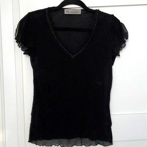 Black v neck blouse